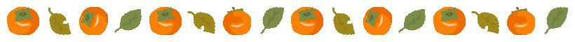 カキと柿の葉のライン飾り罫線イラスト(W800×H40px)