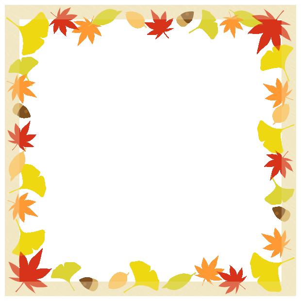 秋の紅葉の額縁フレーム飾り枠イラスト<もみじ・いちょう・落ち葉・どんぐり>(W600×H600px)