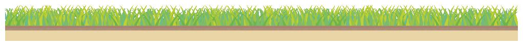 芝生と地面の土のライン飾り罫線イラスト(W1000×H70px)
