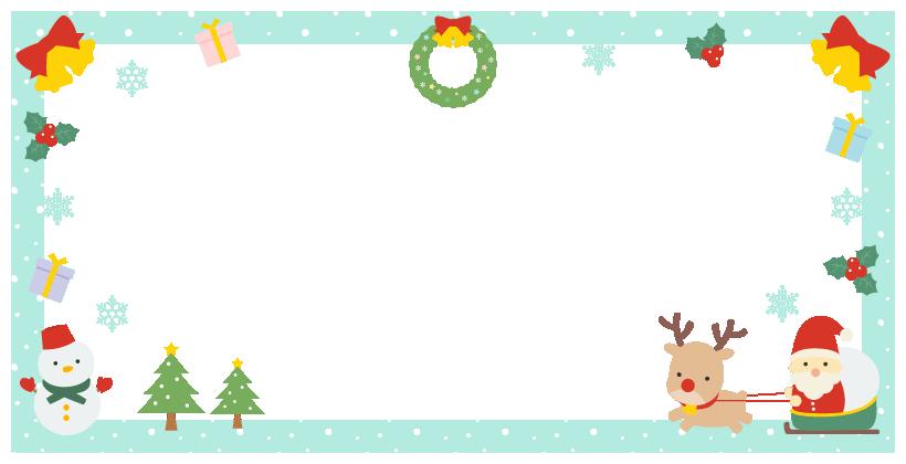 クリスマス(サンタ・トナカイ・ツリー・リース・雪だるま・プレゼント・柊)のフレーム飾り枠イラスト(W800×H400px)