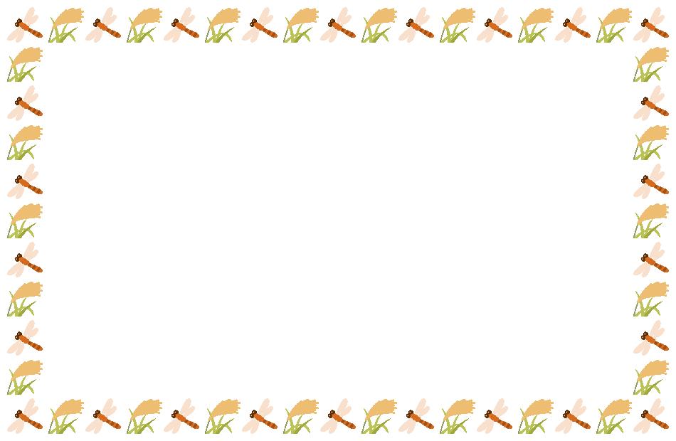 赤トンボと稲穂(ススキ)のフレーム飾り枠イラスト(W930×H600px)
