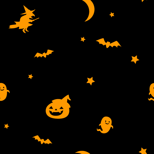10月/秋のイラスト】ハロウィン模様のシームレス背景パターン