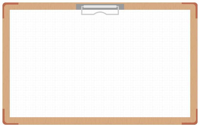 茶色のバインダー(クリップボード)のフレーム飾り枠イラスト<方眼紙>(W800×H500px)