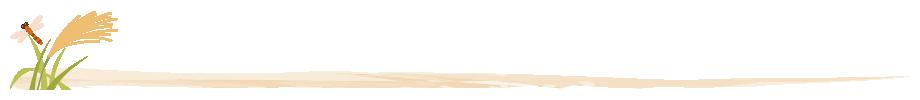 稲穂と赤とんぼのライン飾り罫線イラスト<茶色>(W900×H80px)