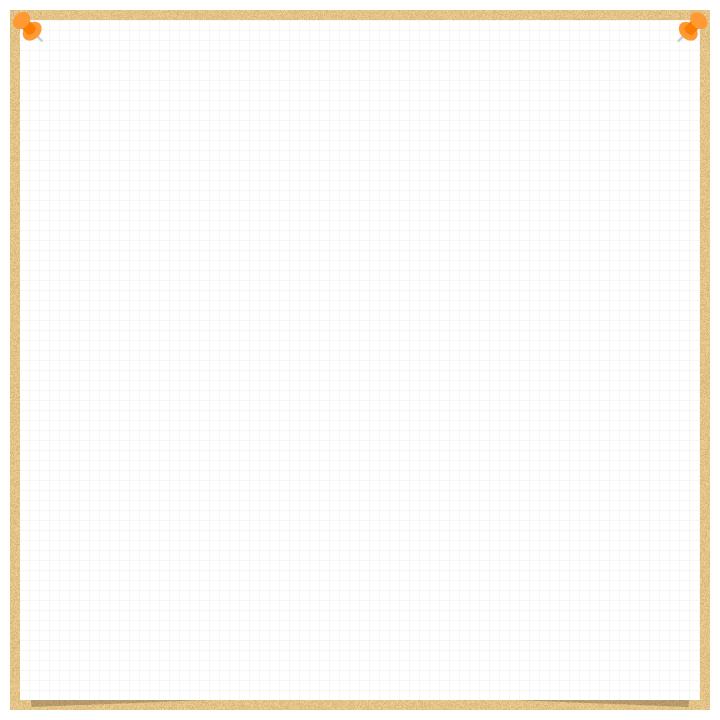 コルクボードに画鋲で留めた方眼紙のフレーム飾り枠イラスト(W700×H700px)