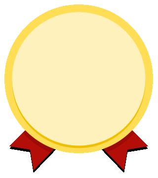 リボンがついた金(ゴールド)のエンブレム(メダル)のフレーム飾り枠アイコンイラスト(W300×H340)