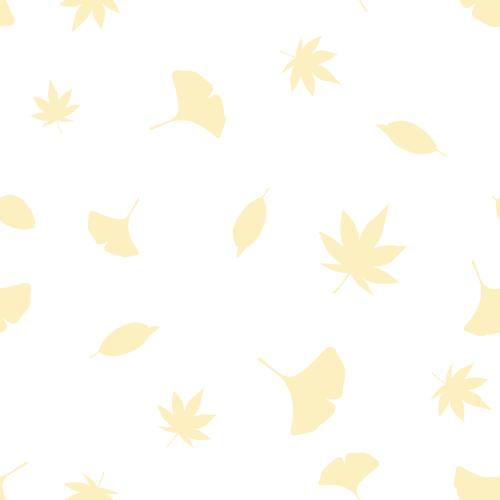 秋の紅葉のシルエットイラスト背景(もみじ・イチョウ・枯れ葉)シームレスパターン<白色>(W500×H500px)
