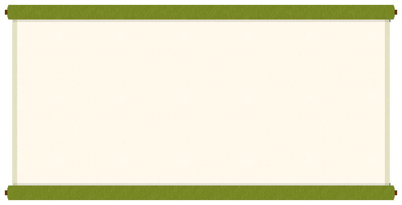 巻物(掛け軸)のフレーム飾り枠イラスト<緑色>(W800×H400px)