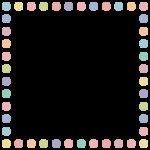 手書き風のドット柄(水玉模様)フレーム飾り枠イラスト