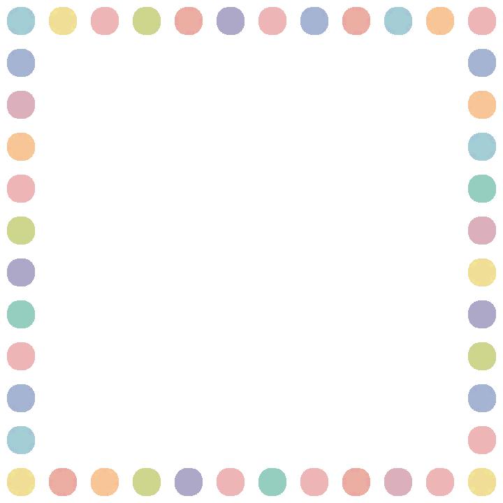 手書き風のドット柄(水玉模様)フレーム飾り枠イラスト(W700×H700px)