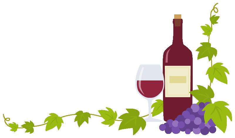 赤ワイン(ボトル・グラス)と葡萄(ブドウ)のコーナーフレーム飾り枠イラスト(W780×H450px)