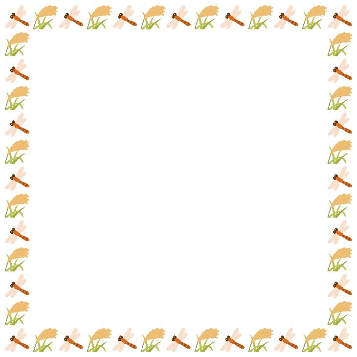 赤トンボと稲穂(ススキ)のフレーム飾り枠イラスト(W710×H710px)