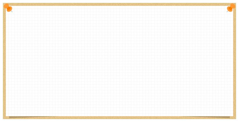 コルクボードに画鋲で留めた方眼紙のフレーム飾り枠イラスト(W800×H400px)