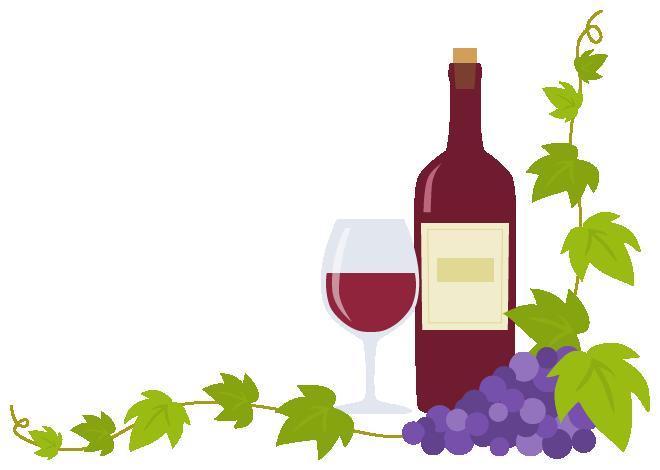 赤ワインボトルグラスと葡萄ブドウのコーナーフレーム飾り枠