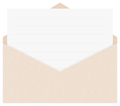 封筒に入った便箋(手紙)のフレーム飾り枠イラスト<水平>(W400×H350px)