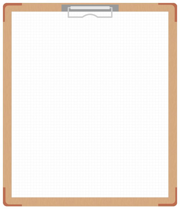 茶色のバインダー(クリップボード)のフレーム飾り枠イラスト<方眼紙>(W600×H700px)