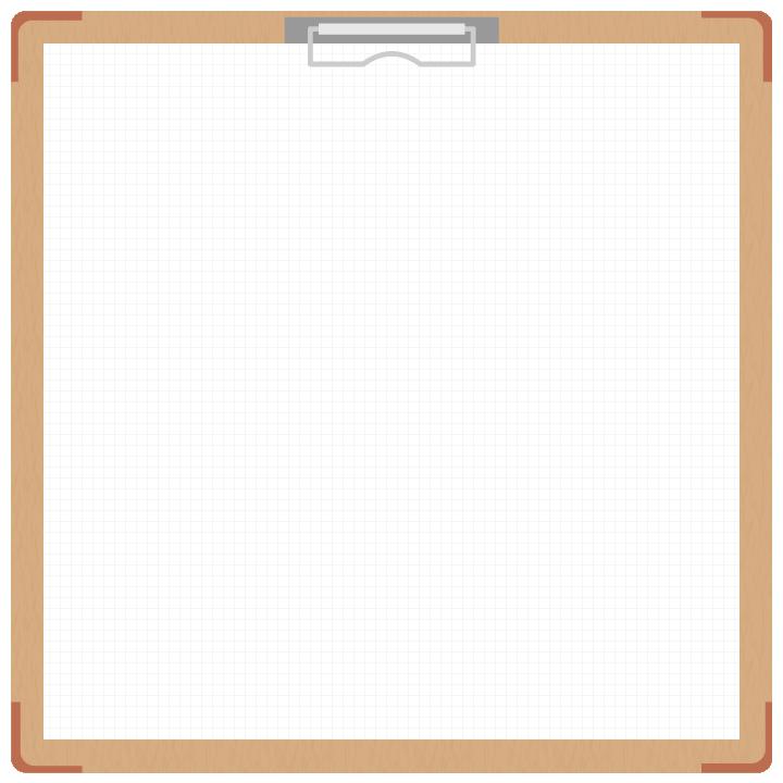茶色のバインダー(クリップボード)のフレーム飾り枠イラスト<方眼紙>(W700×H700px)