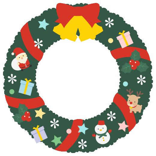 クリスマスリースのフレームイラスト<深緑色>(W500×H500px)