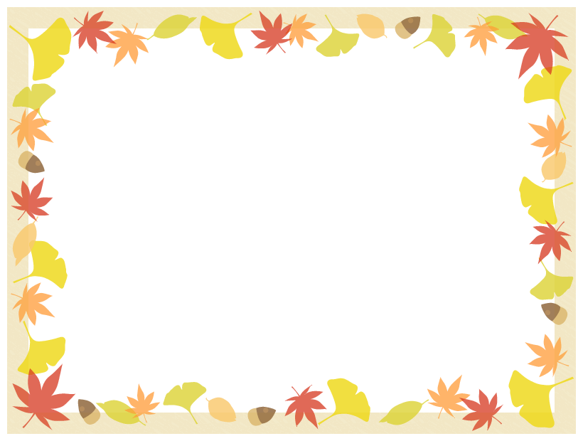 秋の紅葉の額縁フレーム飾り枠イラスト<もみじ・いちょう・落ち葉・どんぐり>(W800×H600px)