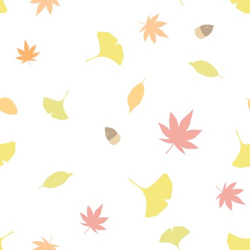 秋の紅葉イラスト(モミジ・イチョウ・枯れ葉・木の実)のシームレス背景パターン<白色>(W500×H500px)