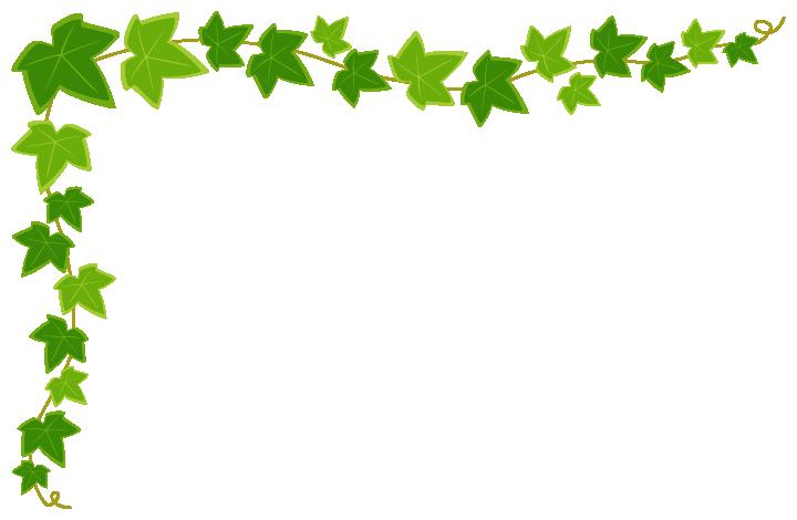 アイビー(蔦・つた)のコーナーフレーム飾り枠イラスト(W700×H450px)