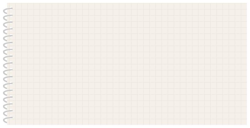 リングノート(手帳)のフレーム飾り枠イラスト<方眼紙>(W800×H400px)