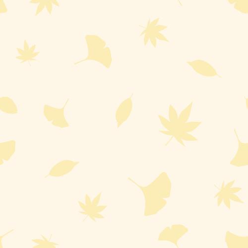 秋の紅葉のシルエットイラスト背景(もみじ・イチョウ・枯れ葉)シームレスパターン<ベージュ>(W500×H500px)