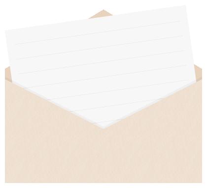 封筒に入った便箋(手紙)のフレーム飾り枠イラスト<斜め>(W400×H360px)