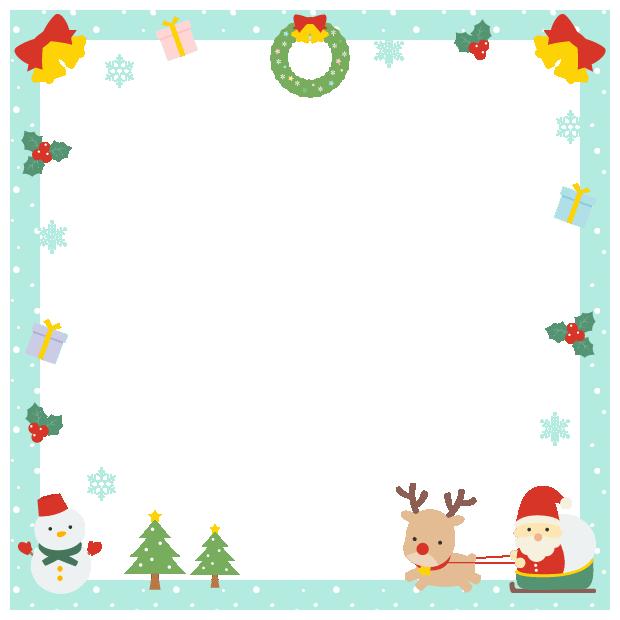 クリスマス(サンタ・トナカイ・ツリー・リース・雪だるま・プレゼント・柊)のフレーム飾り枠イラスト(W600×H600px)