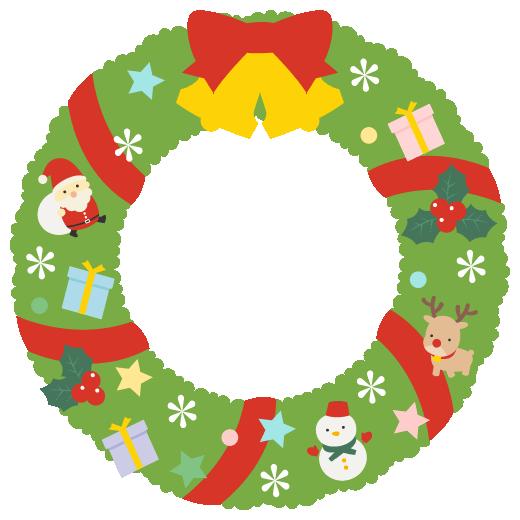 クリスマスリースのフレームイラスト<黄緑色>(W500×H500px)
