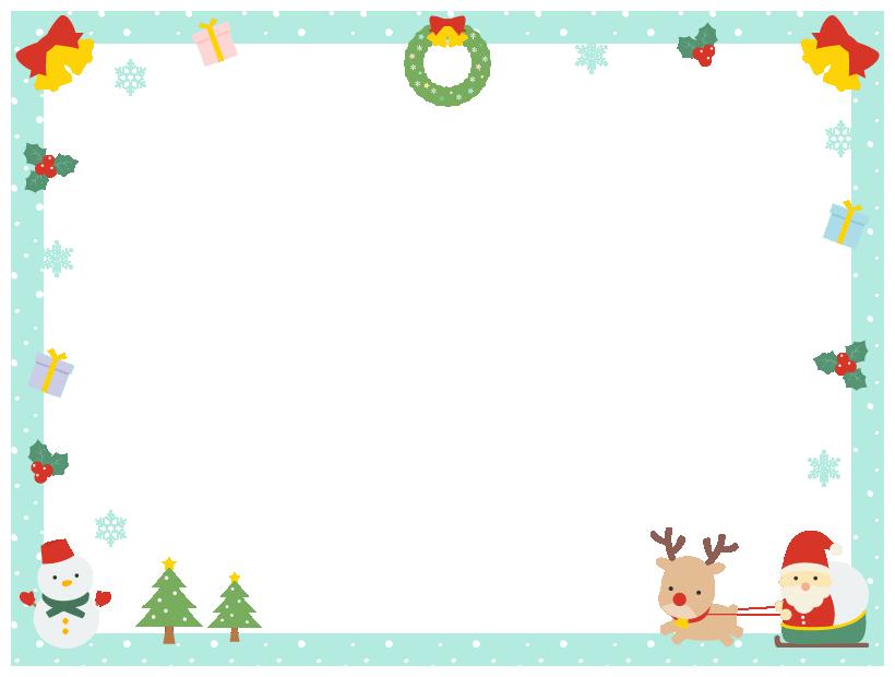 クリスマス(サンタ・トナカイ・ツリー・リース・雪だるま・プレゼント・柊)のフレーム飾り枠イラスト(W800×H600px)