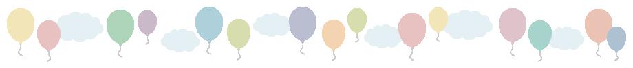 風船(バルーン)と雲のライン飾り罫線イラスト(W900×H80px)