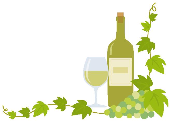 白ワイン(ボトル・グラス)と葡萄(ブドウ)のコーナーフレーム飾り枠イラスト(W640×H450px)