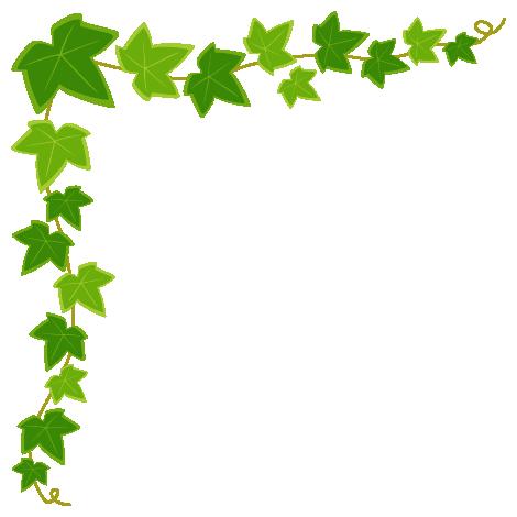 アイビー(蔦・つた)のコーナーフレーム飾り枠イラスト(W450×H450px)