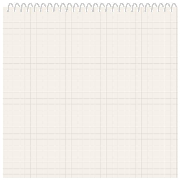 リングノート(手帳)のフレーム飾り枠イラスト<方眼紙>(W600×H600px)