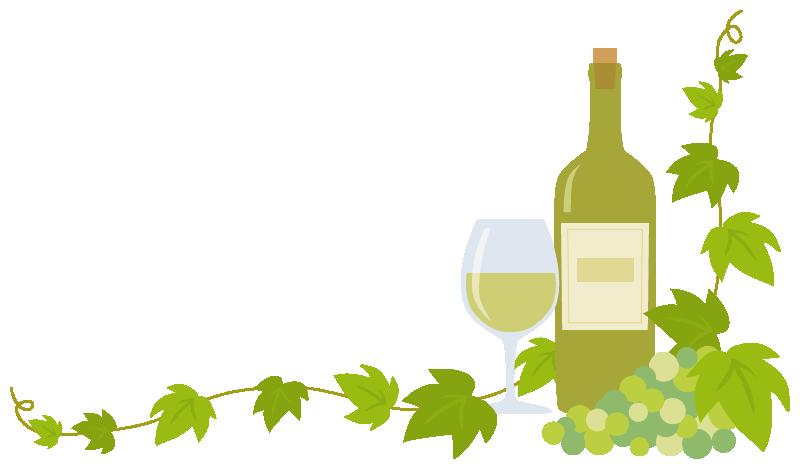 白ワイン(ボトル・グラス)と葡萄(ブドウ)のコーナーフレーム飾り枠イラスト(W780×H450px)