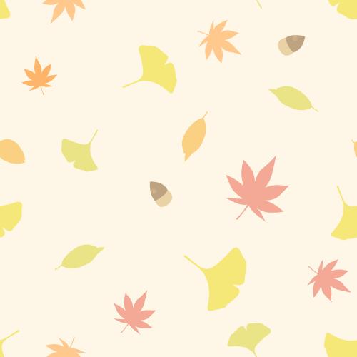 秋の紅葉の背景イラストモミジイチョウ枯れ葉木の実シームレス