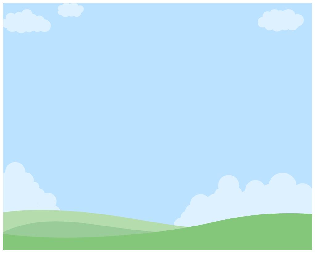 風景のイラスト背景雲が浮かぶ青空と緑の草原の丘 無料フリーイラスト