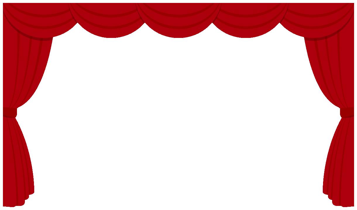 劇場・舞台ステージのドレープカーテン飾り枠フレームイラスト<赤色>(W1200×H700px)