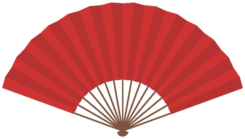 扇子のフレーム飾り枠イラスト<赤色>(W1020×H570px)