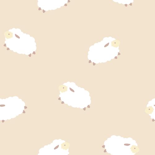 羊(ひつじ)のイラストのシームレス背景パターン<ベージュ>(W500×H500px)