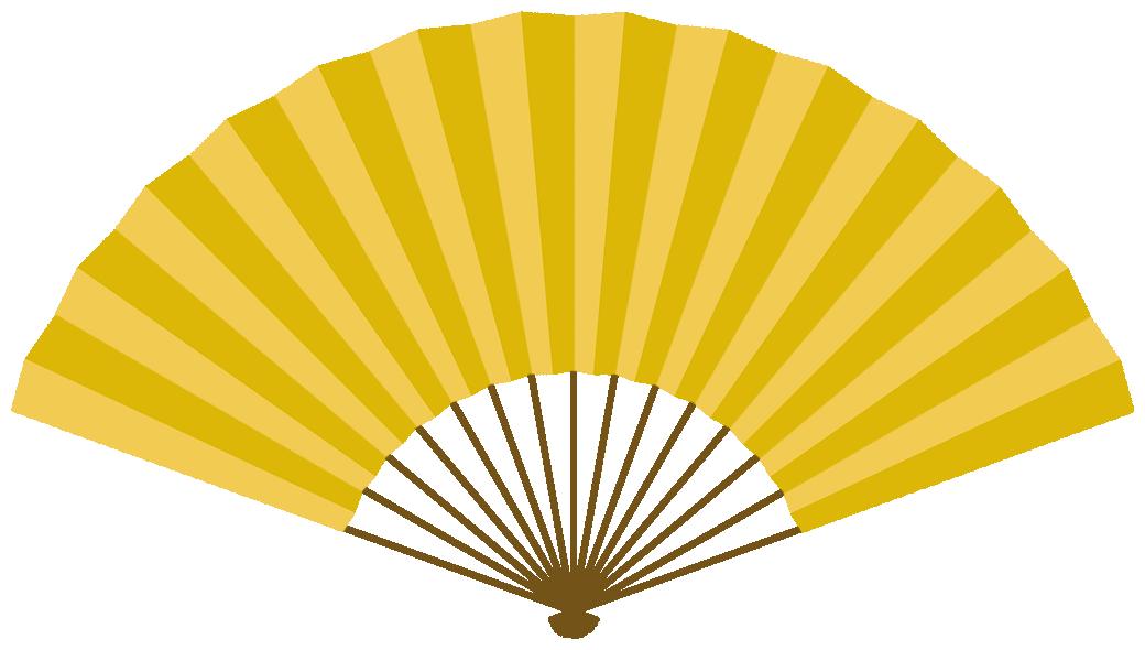 扇子のフレーム飾り枠イラスト<金色>(W1020×H570px)
