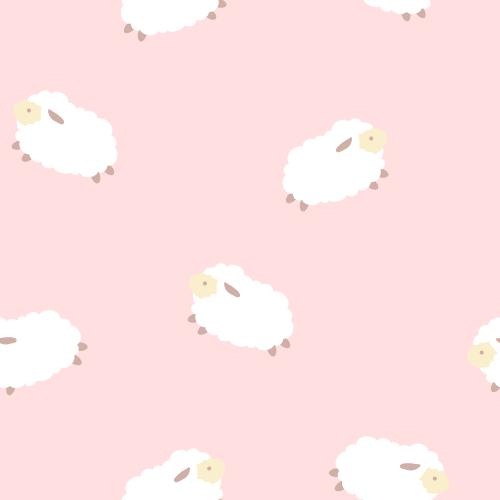 羊(ひつじ)のイラストのシームレス背景パターン<ピンク>(W500×H500px)