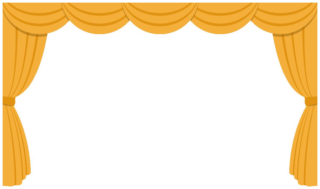 劇場・舞台ステージのドレープカーテン飾り枠フレームイラスト<金色>(W1200×H700px)