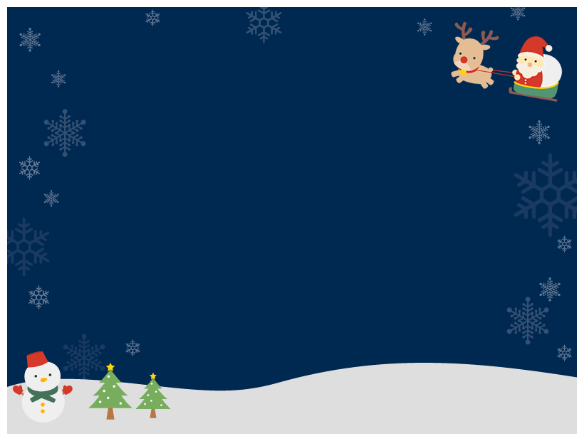 クリスマスの夜空の飾り背景イラスト(W800×H600px)