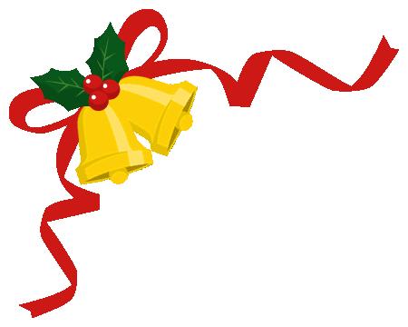 ベルと柊で飾ったリボンのコーナーフレーム飾り枠イラスト(W430×H340px)