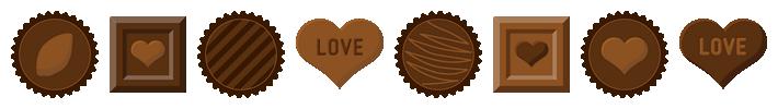 バレンタインチョコレートのライン飾り罫線イラスト(W690×H80px)