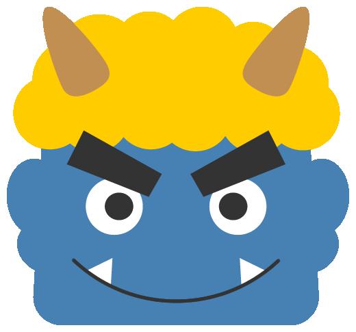 笑った青鬼のイラスト<黄色い髪>(W500×H465px)