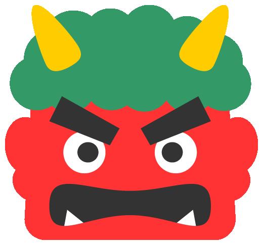 怒った赤鬼のイラスト<緑色の髪>(W500×H465px)