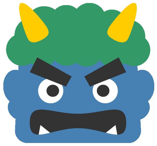 怒った青鬼のイラスト<緑色の髪>(W500×H465px)